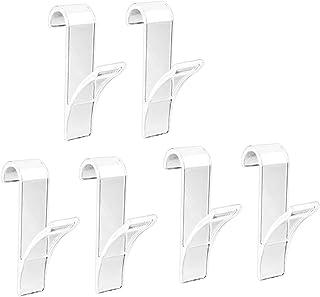 6PCS Ganchos para radiador, Perchero para riel del radiador, Gancho para secar el baño, Perchero, Ganchos para Toallas de Cocina, Blanco/Transparente