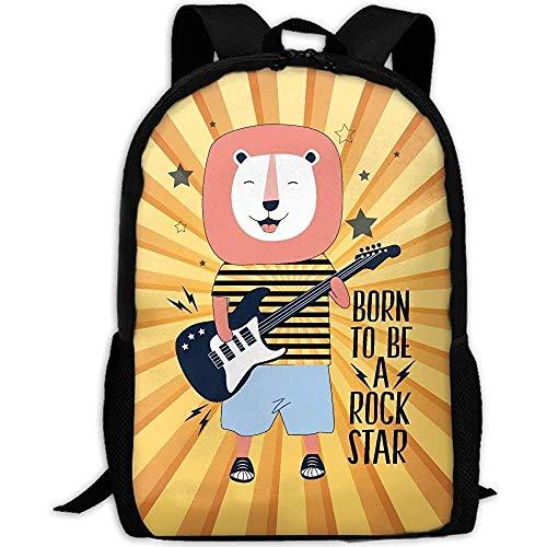Hdadwy Mochila, mochila de viaje para adultos con música rock, guitarra, León, mochila informal escolar, mochila Oxford para ordenador portátil al aire libre, bolsos de hombro para ordenador u