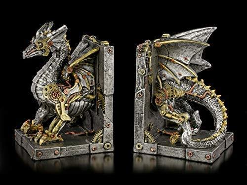 Fantasy Steampunk Drachen Buchstützen - Dracus Machina | Dekoartikel, handbemalt