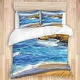 VICAFUCI Pflegeleichter Bettbezug Mikrofaser Bettwäscheset mit Kissenbezügen,Sonnenuntergang Klippen San Diego Kalifornien Ozean Pazifik Strand,220 x 240 cm