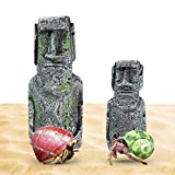 Hermit Crab Moai Decor Pieces, Pair of Easter Island Statues, Detailed Resin Replicas for Crawlers, Great Decorations for Luau OR Tropical-Themed Party., for Aquariums, Terrariums & Crabitats, 2 Pcs