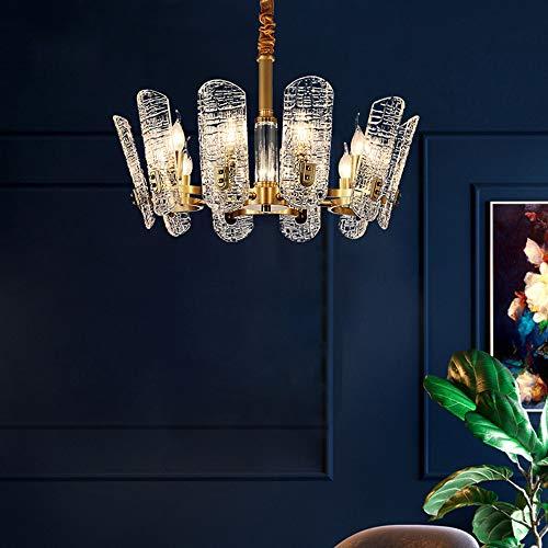 Asncnxdore Cristal De Lujo Moderno Lámpara De Araña De Luz Acogedora Sala De Estar Completo Restaurante Araña De Cobre Lámpara Del Dormitorio De La Personalidad Creativa 10 * 42cm Luz 66