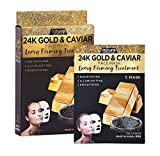 AZURE 24K Gold & Caviar Luxury Firming Sheet Face Mask - Smoothing,...