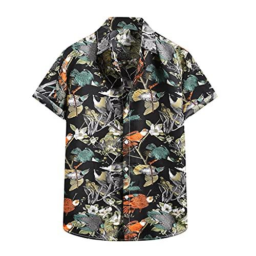 YANFANG Camiseta De Manga Corta con Camisa Flor Hawaiana Informal Moda Verano para Hombre,Nueva La Primavera China Estilo Los Hombres Ajuste Delgado Solid Casual Media Ropa