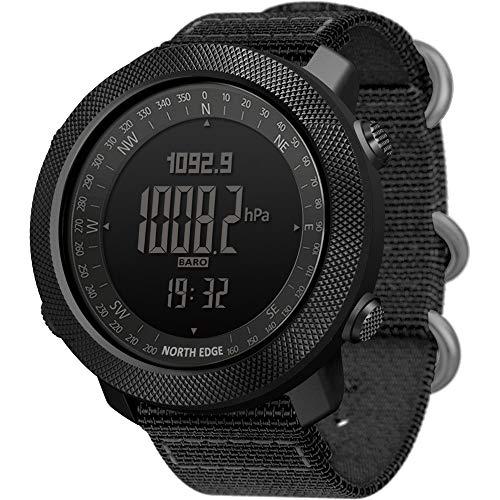 NORTH EDGE Apache Herren Outdoor Sport Digital Armbanduhr Multifunktionale Smart Watch Schwimmen Militär Armee Uhren Höhenmesser Barometer Kompass Wasserdicht 50m Sprots schwarz
