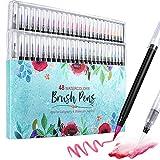 RUAMMER Brush Pen Set 48+4+6 Farber, Filzstifte Set und 4 wasser stifte, Handlettering Stifte mit Flexibler Pinselspitze, Bunte Aquarellstifte, Pinselstifte Set passend für Bullet Journal,kalligraphie