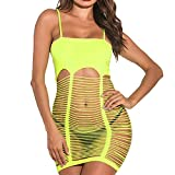 Lingerie for Womens, Sexy Lingerie Teddy Bodysuit Fishnet Lingerie Sets Women's Outfit Babydoll Mesh Hole Chemise Yellow