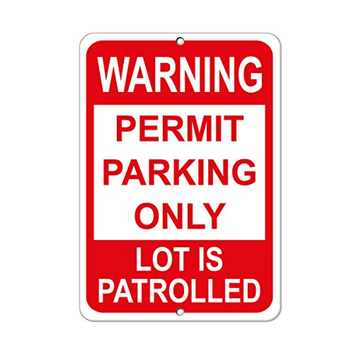 """Warning Permit Parking Only Lot is Patrolled Security Sign Label Vinyl Decal Sticker Kit OSHA Safety Label Compliance Signs 8"""""""