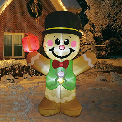 GOOSH Christmas 5 Foot Inflatable Christmas Gingerbread Man Cookie with LED Lights Indoor Outdoor Yard Lawn Decoration - Cute Fun Xmas Holiday Blow Up Party Display