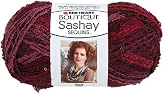 Coats Yarn Red Heart Boutique Sashay Sequins Yarn, Cabernet