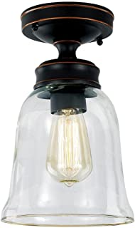 Hampton Bay 1000 052 875 Semi Flush Mount-Light Fixture with an Oil-Rubbed Bronze Finish & A Clear Glass Shade