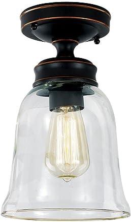 ハンプトンベイセミFlushmountライト器具with anオイルラブドブロンズ仕上げとAクリアガラスシェード