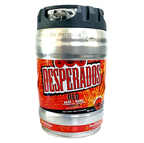 Desperados red Bier mit Tequila, Guarana, Cachaca, Partyfass 5 Liter Fass inkl. Zapfhahn 5,9% vol.