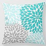 babyssj manta decorativa Funda de almohada turquesa azul gris Dahlia decoración sofá 18x 18pulgadas