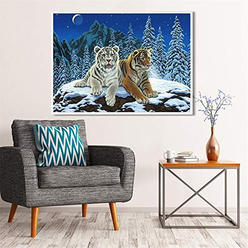 DIY 5D diamante pintura kit completo, Montaña nevada del tigre Diamond Painting adult/niño dot cristal Rhinestone punto de cruz bordado art decor de la pared del hogar Square Drill,30x50cm(12x20in)