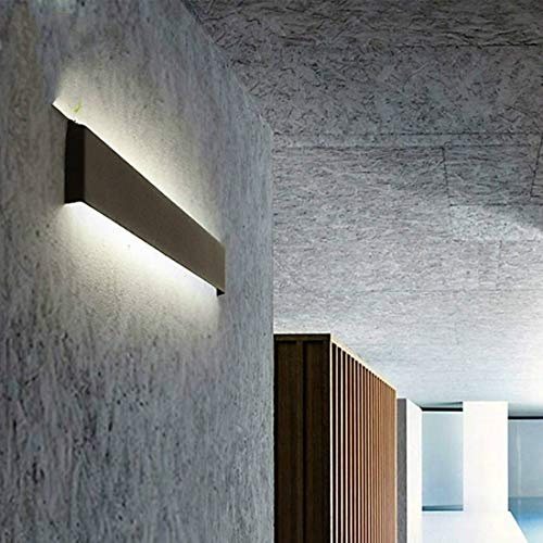 LPER Wandmontage Lampe, Einfaches und elegantes Design Modernes minimalistisches Wohnzimmer Flur Treppe Leuchter LED-Wandleuchte kreative Dekoration-Beleuchtung, Lampshade Farbe: Schwarz-48cm 18W (war