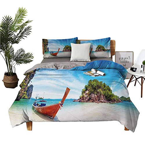 4 Bedding Cover Set Bedding Cover Sets Satin Sheets Surreal Beach in Thailand with an Old Wooden Boat Island Ocean Picture Fern Green Blue Cream Boy Girl Kid W80 xL90