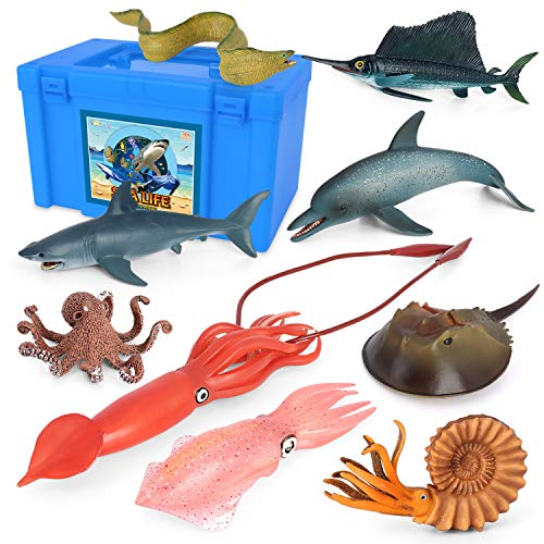 Sea Creature Toys VOLNAU 9PCS Pacific Ocean Sea Animals Figurines Shark Toys for Toddlers Kids Christmas Birthday Gift Plastic Fish Toys Preschool Pack and Bath Dolphin Sets