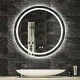 LUVODI Espejo Baño LED Redondo Espejo de Baño Antivaho con 3 Modos de Luces Ajustables Interruptor Táctil Espejo Moderno de Pared para Tocador Dormitorio 60 x 60cm