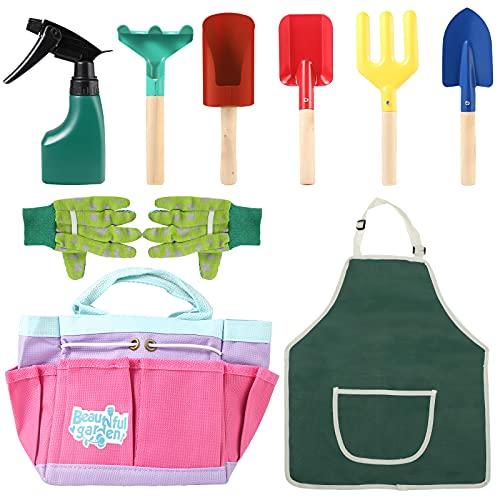 LQKYWNA 8pcs Kit da Giardinaggio per Bambini con Borsa degli Attrezzi, Kit di Attrezzi da Giardino per Bambini Giocattoli Che Scavano Strumenti per Giocare con la Sabbia per Bambini Ragazzi Ragazze
