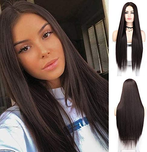 LNERATO Chocolate Brown Long Straight Wig for Women Synthetic Omber Brown Wigs Middle Part Wig product image