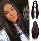 LNERATO Chocolate Brown Long Straight Wig for Women Synthetic Omber Brown Wigs Middle Part Wig Natural Looking Heat Resistant Full Wig for Daily Party.(Chocolate Brown)
