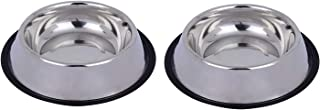 Naaz Pet Anti Skid Stainless Steel Bowl for Feeding Small Dogs Cats and Kittens (Silver, 200 ml X 2) - Set of 2