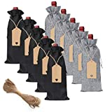 BEAVOING Burlap Wine Bags 16 Pcs Wine Bottle Bags Jute Wine Gift Bags with Tags and Ropes Wine Bottle Covers for Christmas Wedding Housewarming Engagement Wine Tasting Party Supplies (Black&Gray, 16)
