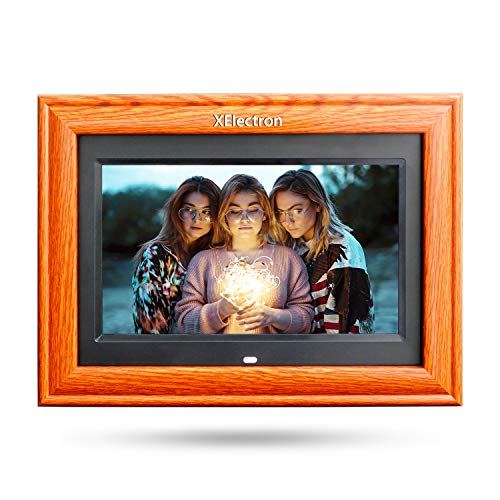 XElectron® 10 inch IPS Wooden Digital Photo Frame/Video Frame with 1920×1080, 1080P Support Resolution, Plays Images, Video & Music, USB/SD Card Slot, with Remote (Wooden)