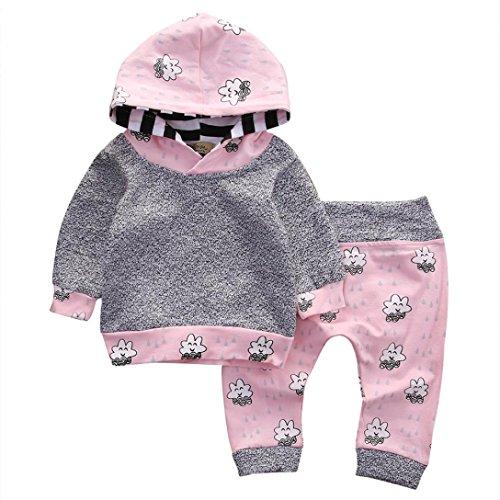 Babykleidung Longra Baby Jungen Mädchen Kleidungges-Anzüge treifte Karikatur-mit Kapuze Langarm Oberseiten Tops + Hosen(0-18 Monate) (90CM 12Monate, Gray)