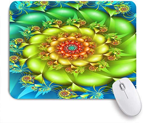 NOLOVVHA Gaming Mouse Pad Rutschfeste Gummibasis,Bunte spiralförmige fraktale wirbelnde Blumen in lebendigen Farben Whirlpool Image Vortex,für Computer Laptop Office Desk,240 x 200mm