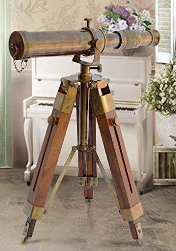 Nautical Replica Hub Telescopio náutico de latón Antiguo con Soporte