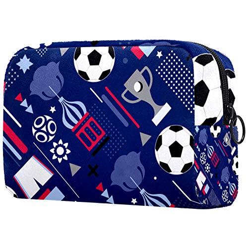 Bolsa de maquillaje personalizable, portátil, para mujer, bolso de mano, organizador de viaje, diseño de copa del mundo de fútbol