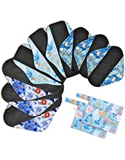 Viedouce Almohadilla Menstrual Reutilizable,Súper Absorción Reutilizables de Carbón de Bambú Almohadilla Menstrual con 2 Impermeables Bolsas de Almacenamiento