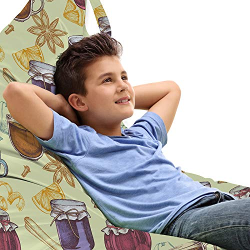 ABAKUHAUS Skizzieren Unicorn Spielzeugtasche Liegestuhl Lounger Stuhl, Zimt Teebeutel Gläser Cups, Hochleistungskuscheltieraufbewahrung mit Griff, Pastellgrün Multicolor