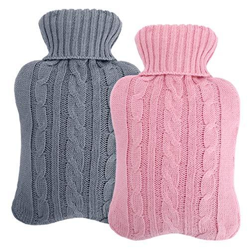 Wärmflasche mit weichem Bezug, 2L Auslaufsicher Naturgummi Bettflasche, Hot Water Bottle für Erwachsene & Kinder Abend Winterheizung - Blau & Grau (Rosa)