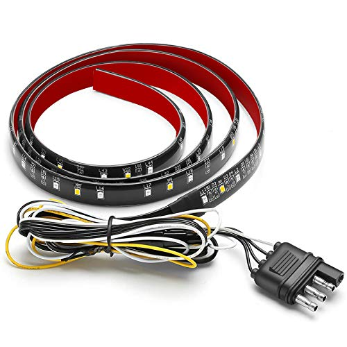 AMBOTHER 5-Function 48/49 Truck Tailgate Side Bed Light Strip Bar 3528-72LED Waterproof IP67, Turn Signal, Parking, Brake, Reverse Lights for Trailer Pickup Jeep RV Van Dodge Ram Chevy GMC Red/White