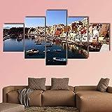 WKXZZS Lienzo Giclée de Pared Art Imagen para decoración del hogar Isla Procida en Italia Ver Panel de 5 Piezas de Arte Moderno. Ideal para Decorar el salón