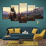Cuadro en lienzo Impresiones en lienzo de 5 piezas Paneles de 5 partes Witcher Cazador de caballos salvajes del castillo de Gante Listo para colgar Impresión de arte en la pared Imagen completame