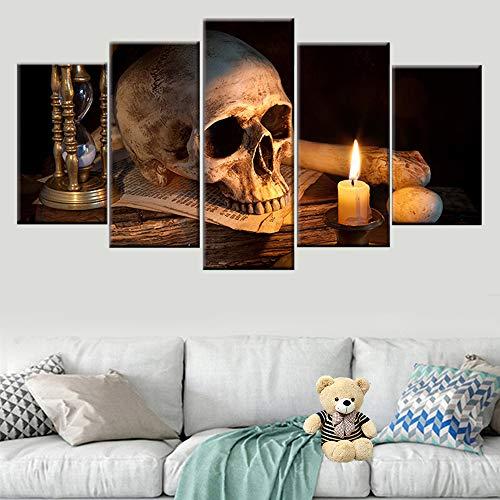 5 paneeldoek, schilderen, doodsschedel, kaars, modulair, wand, kunst, foto, HD, bedrukt, schilderen, decoratie thuis 40x60cmx2 40x80cmx2 40x100cmx1 Geen frame