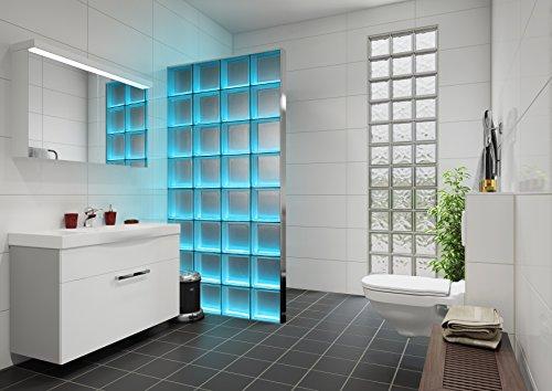 Fuchs Design Light My Wall® beleuchtete Glassteinwand 78x175,5 cm - DIY - Wolke Klar glänzend Klar 19x19x8 cm Beleuchtung Bunt (Farbwechsel) - Aluminium satiniert - Raumteiler Duschwand