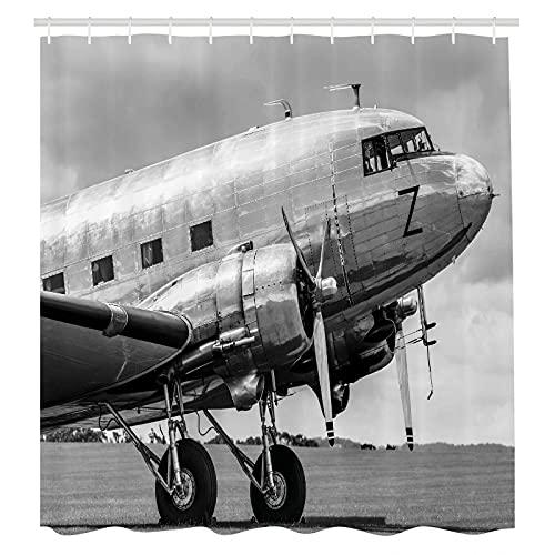 XXzhang Duschvorhang Vintage Flugzeug Duschvorhang Old Airliner Print für Badezimmer Duschvorhänge Schimmelwiderstandsfähig waschbar