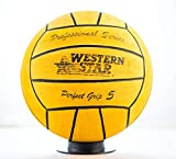 Water Polo Competition Size 2 3 4 5 Match Men Women Youth Intermediate High School Ball Perfect Grip Western Star Professional Series (Yellow, Size 4)