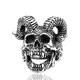 yabeme anello da uomo vichingo, gioielli da motociclista punk rock in acciaio inossidabile scandinavo vintage diavolo satana norreno, con borsa regalo runa valknut,7