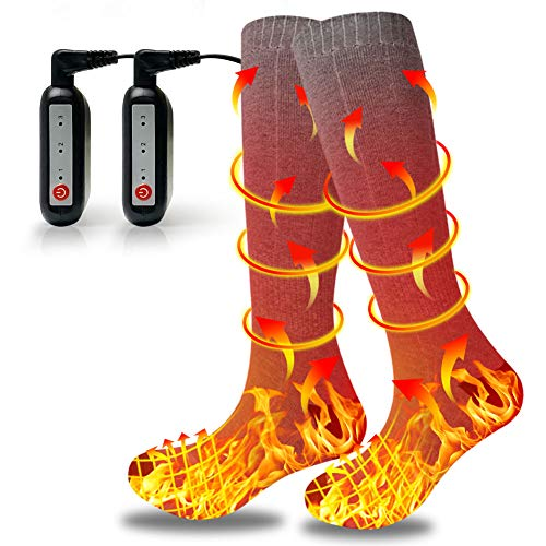 Heated Socks for Men Women, 2021 New Rechargeable Washable Heating Socks, Upgraded Electric Socks with 3 Heating Settings 4000mAh Large Capacity Battery for 540 Minutes Heating time, Grey