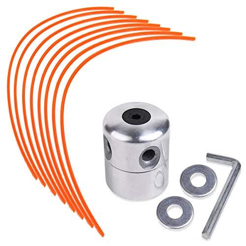 N/C ZAMDOE Aluminium Fadenkopf Mähkopf Rasentrimmerkopf Spule Nylonfaden-Kit Universal für Freischneider Motorsense, mit 1 Fadenkopf + 8 Faden (Orange Rund)