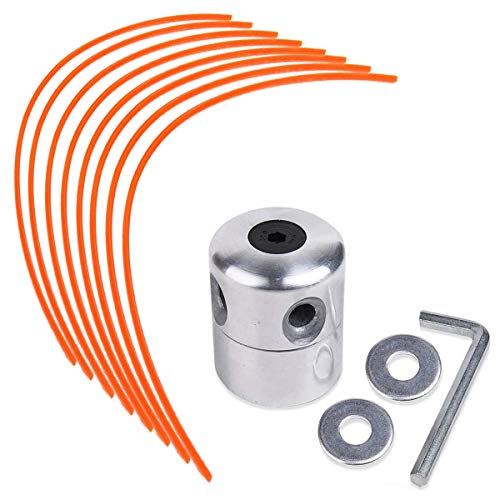 NC56 ZAMDOE Aluminium Fadenkopf für Benzin Motorsense Freischneider Doppelfadenkopf Fadenspule Nylonfaden(1 Fadenkopf+ 8 Mählinie)