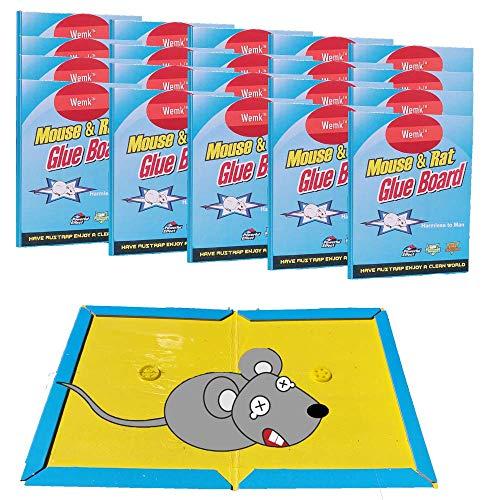 Wemk© Trampa para Ratones, Trampa para Ratas, Trampa con Pegamento Anti Roedores Atrapa Ratones raticida profesional con pegamento para ratones Pack de 20 unidades – Tamaño Grande A4