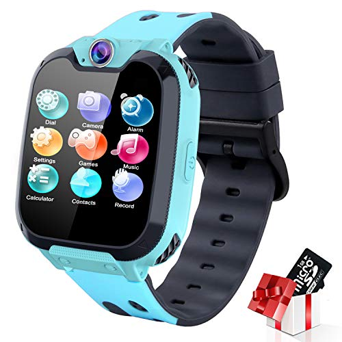 Kids Smart Watch for Boys Girls - Touch Screen Smartwatch with Phone Call Music Player Alarm Clock SOS Record Games Camera for Kids 3-12 Years Old (Blue)