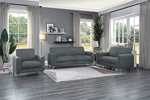 Lexicon Hotevilla 3-Piece Sofa Set, Dark Grey